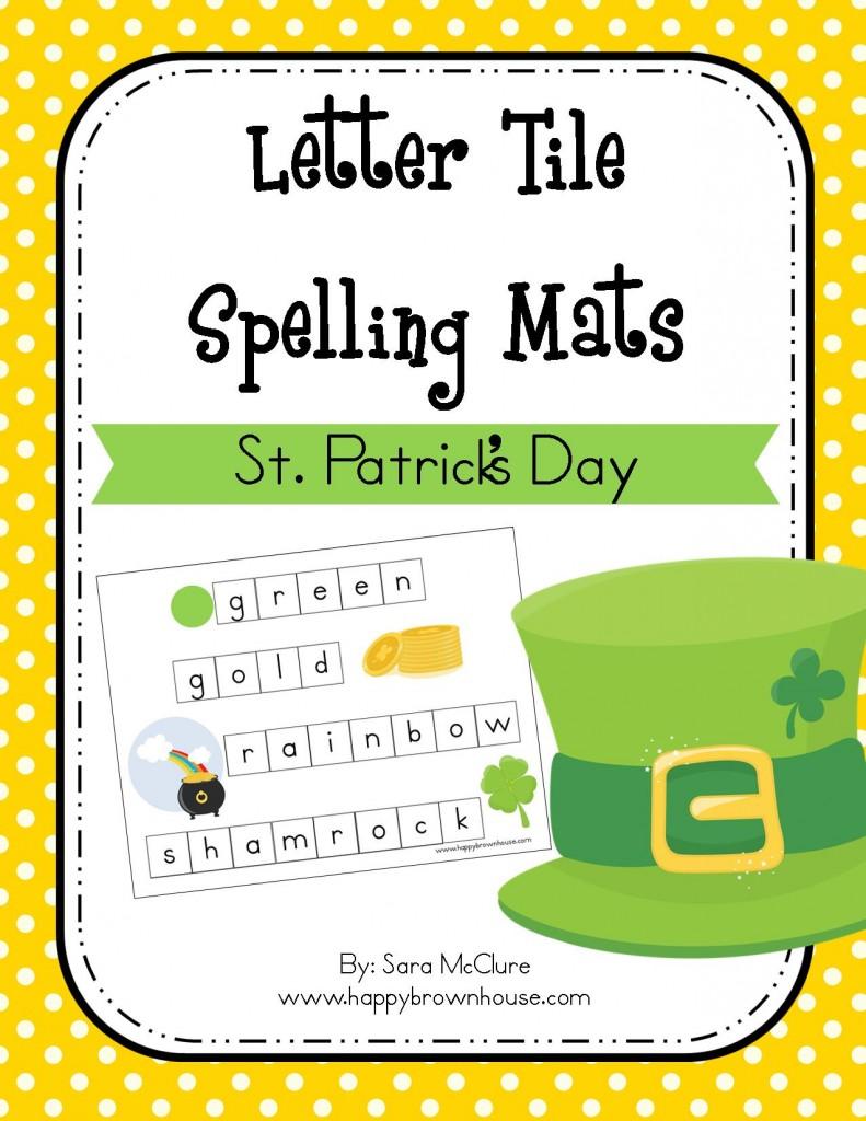 St Patricks Day Letter Tile Spelling Mat  Happy Brown House