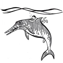 Opthalmosaurus. Creatures of the Deep coloring book. 2014