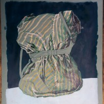"""Still Life with Bra, colored ink and acrylic on green paper, 18x24,"""" 2015"""