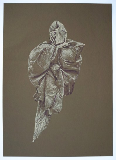 "Figure Two, colored ink on brown paper, 18x24,"" 2013"