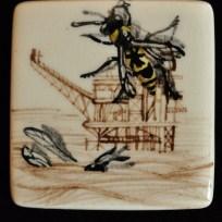 "Wasps, ceramic, .1.25x1.25,"" 2015"