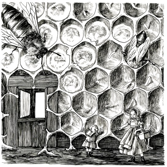 Gathering Eggs. Illustration from An Illustrated History of Domestic Arthropods. Ink on paper. 2017