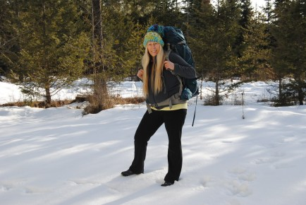 Trekking in the snow.