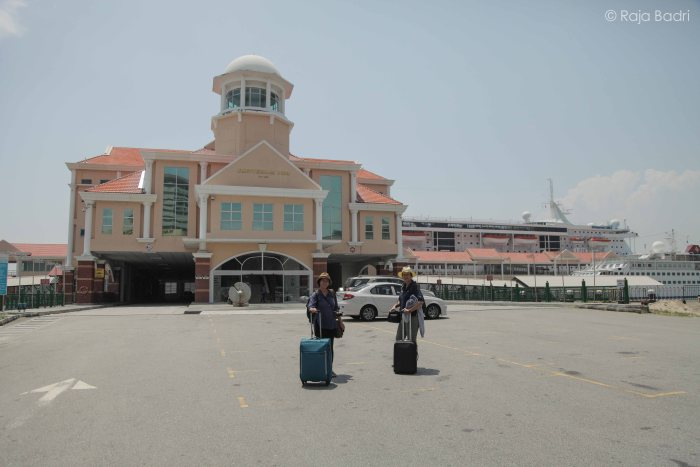 Us standing in front of Port Swettenham in Penang