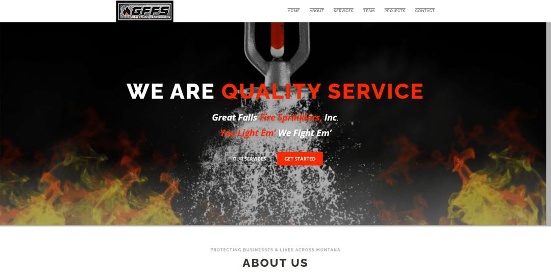 Great Falls Fire Sprinklers Website Screenshot