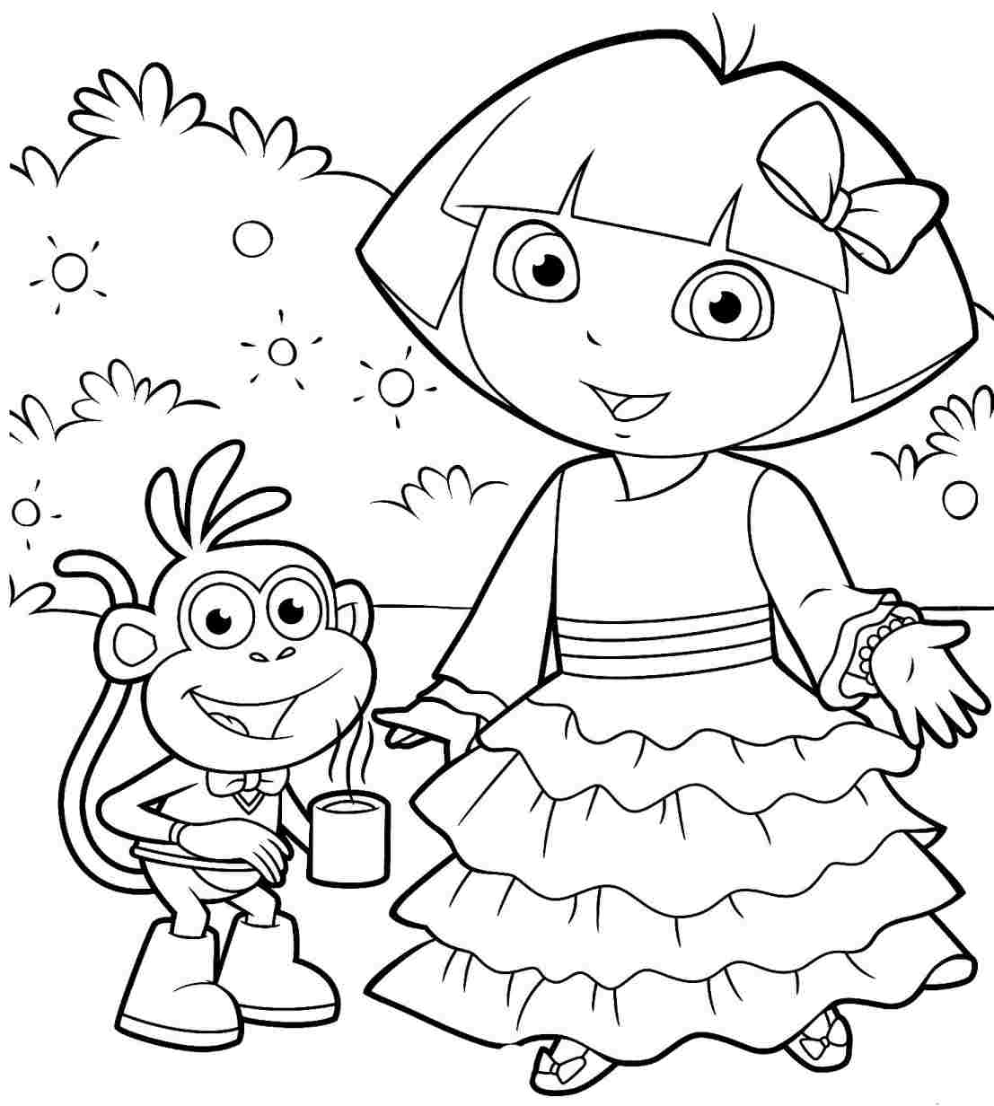 Dora Christmas Coloring pages #12 Printable Coloring Sheets
