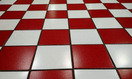 red and white tile floor