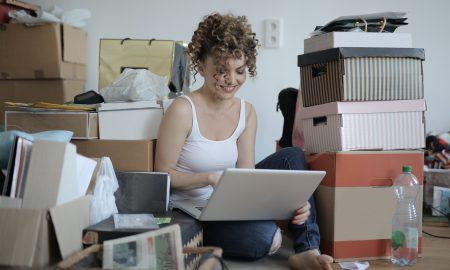 woman in clutter