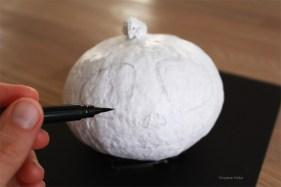 Prenez un pinceau encreur pour repasser par-dessus les traits de crayon