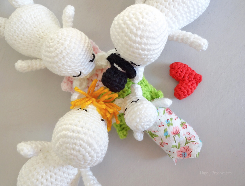 Famille de Moomins au crochet