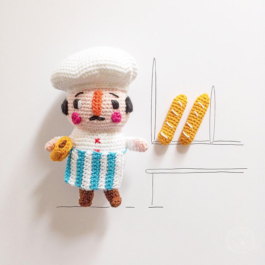 Amigurumi boulanger et baguette au crochet