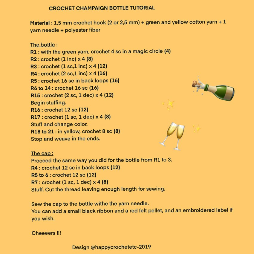 Crochet Champaign Bottle Tutorial
