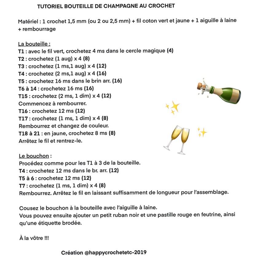 Tutoriel Bouteille de Champagne au Crochet