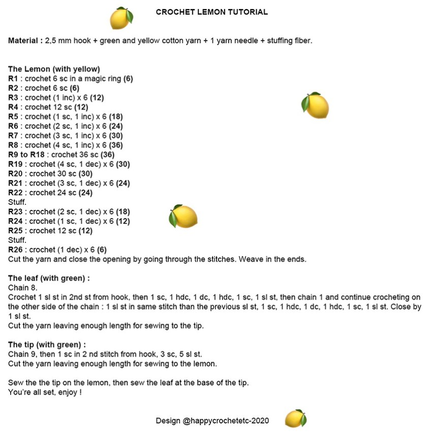 Crochet Lemon Tutorial Text