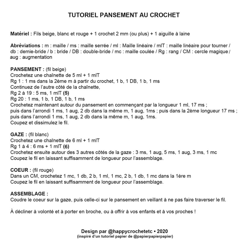 Tutoriel Pansement au Crochet
