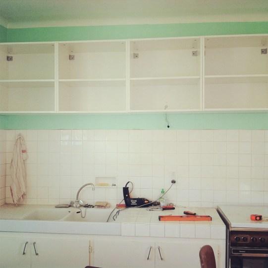 cuisine vert menthe en construction