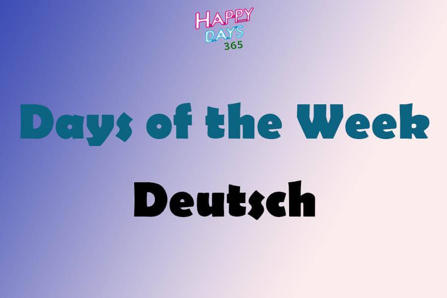 Days of the Week in Deutsch