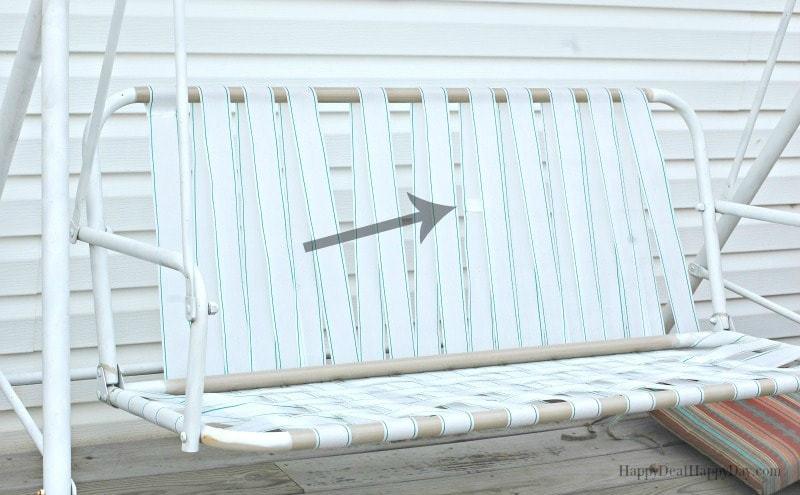 to fix broken canvas on a porch swing