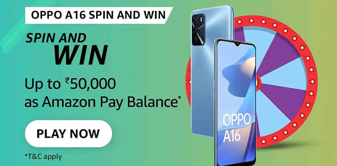 Oppo a16 spin and win quiz