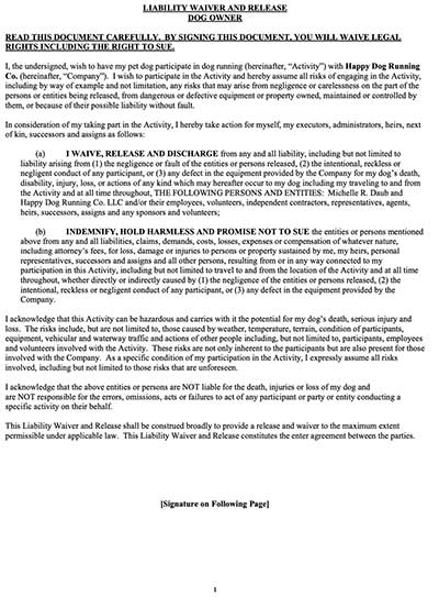 Owner's Liability Waiver