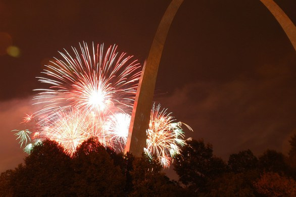 4th of July fireworks behind the St Louis Gateway Arch