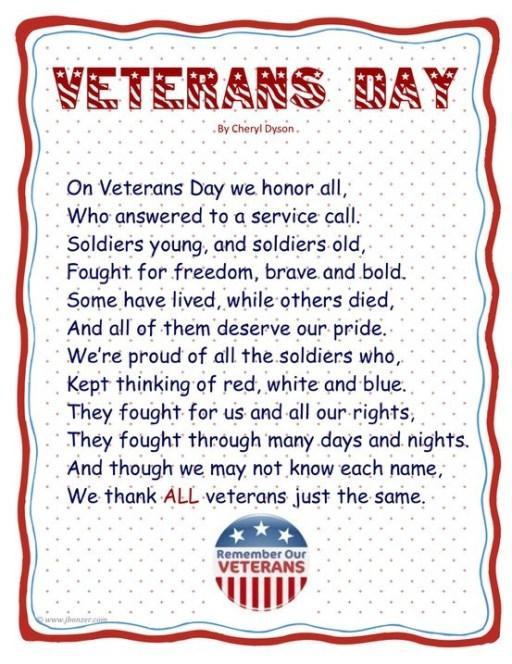 Veterans Day Poems for student