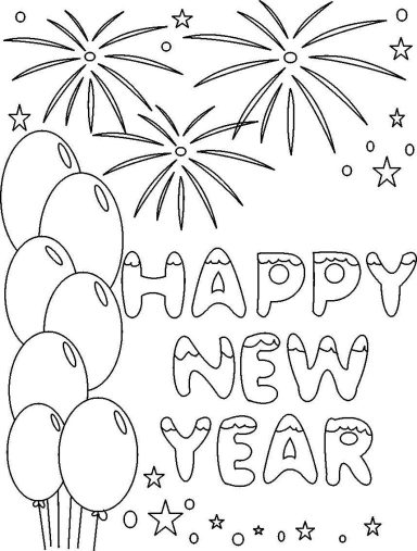 Happy New Year 2019 Coloring Pages