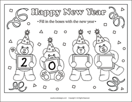 New Year Coloring Pages Download Photo