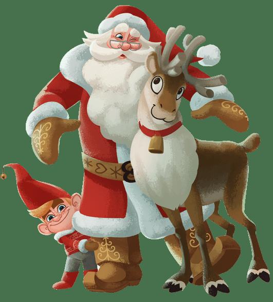 Santa Claus With Reindeer
