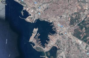 Shipyards in Tuzla Bay, Istanbul, Turkey as seen from space.
