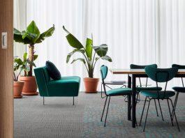 Interface creates carpet tile backing using carbon-negative materials