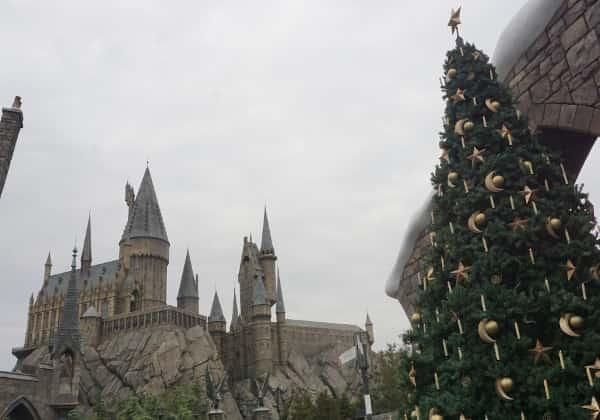 ホグワーツ城とクリスマスツリー