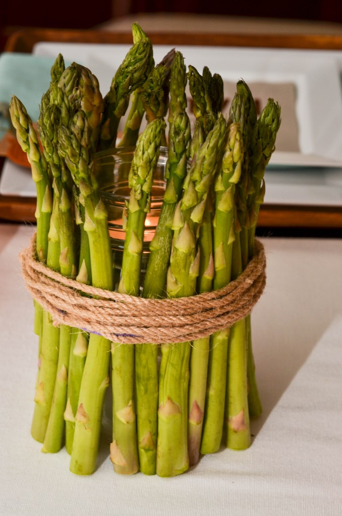 DIY Asparagus Candle for Meatless Monday with MorningStar by Happy Family Blog, Candle Centerpieces