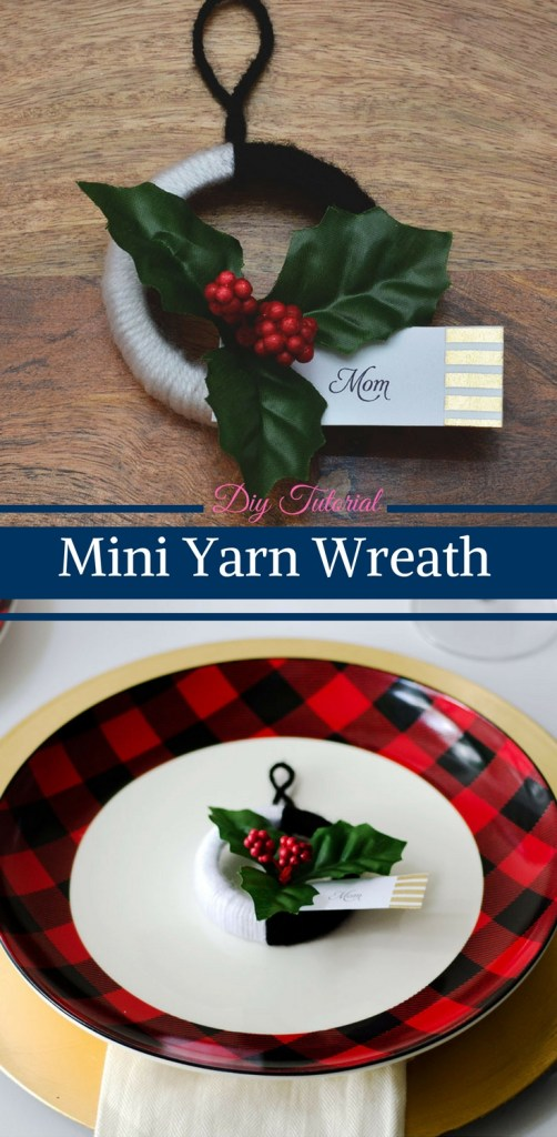 DIY Tutorial Mini Yarn Wreath by Happy Family Blog