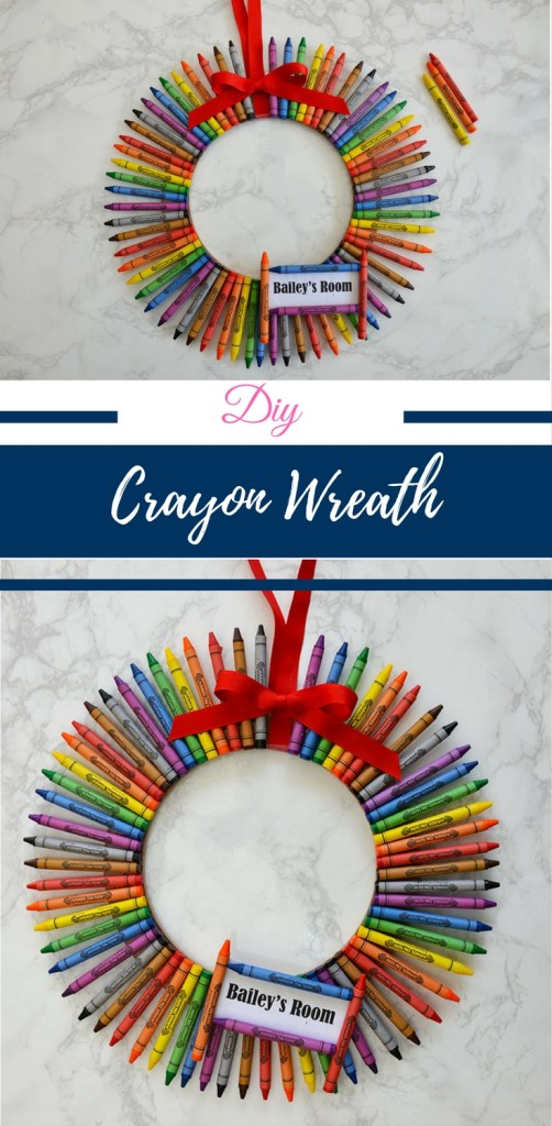 Crayon wreath, Crayon wreath for teacher, how to make a crayon wreath, Crayon wreath for teachers, how to make a crayons crayon wreath