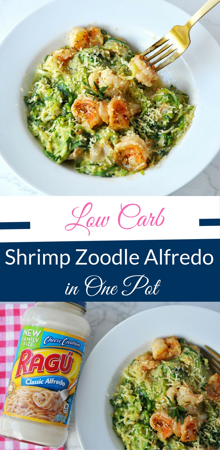 low carb shrimp zoodle alfredo in one pot happy family blog. Black Bedroom Furniture Sets. Home Design Ideas