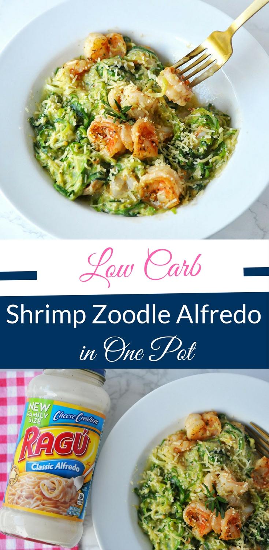 low carb shrimp zoodle alfredo in one pot happy family blog. Black Bedroom Furniture Sets. Home Design Ideas
