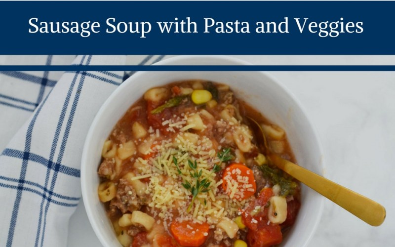 sausage soup, soup with sausage, easy yummy soup, crockpot soup, crockpot sausage soup, sausage soup with pasta and vegetables