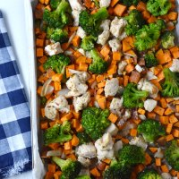 Chicken Broccoli and Sweet Potato Sheet Pan Dinner