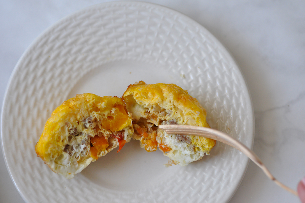 egg muffins with peppers onion and suasage