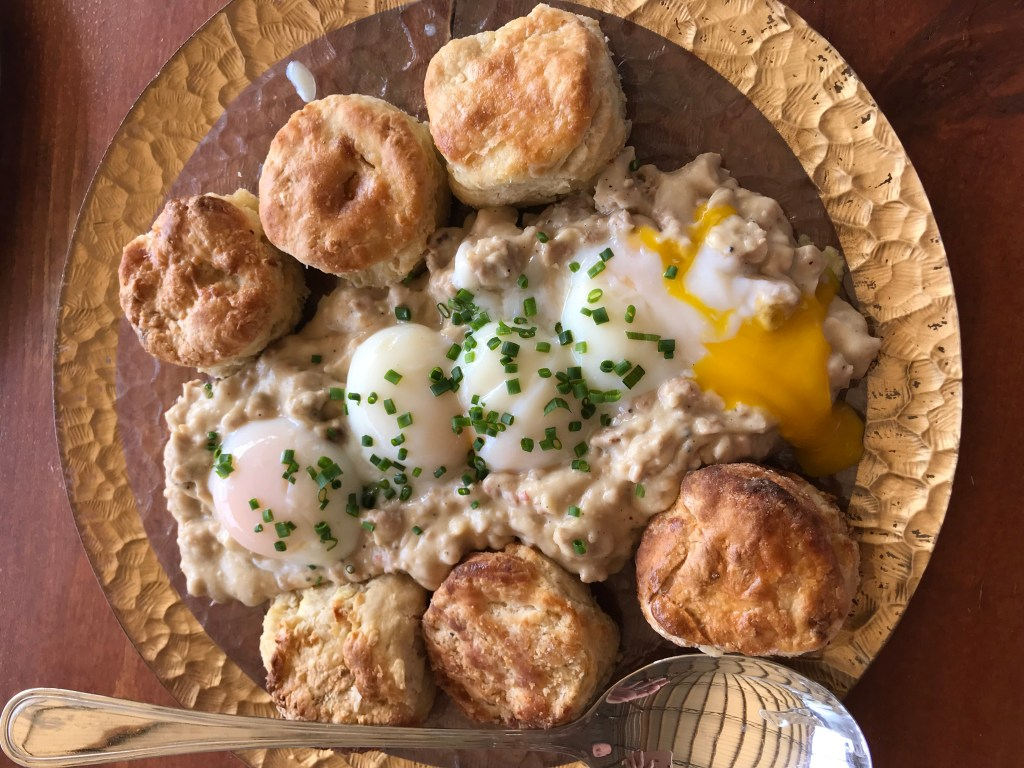 Sausage & Gravy, Poached Eggs, Buttermilk Biscuits from Swank Farms