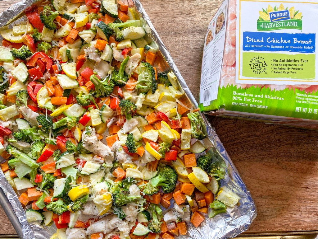 sheet pan chicken and vegetables, sheet pan chicken and veggies,