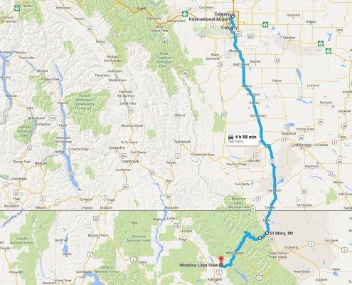 calgary canada to columbia falls montana