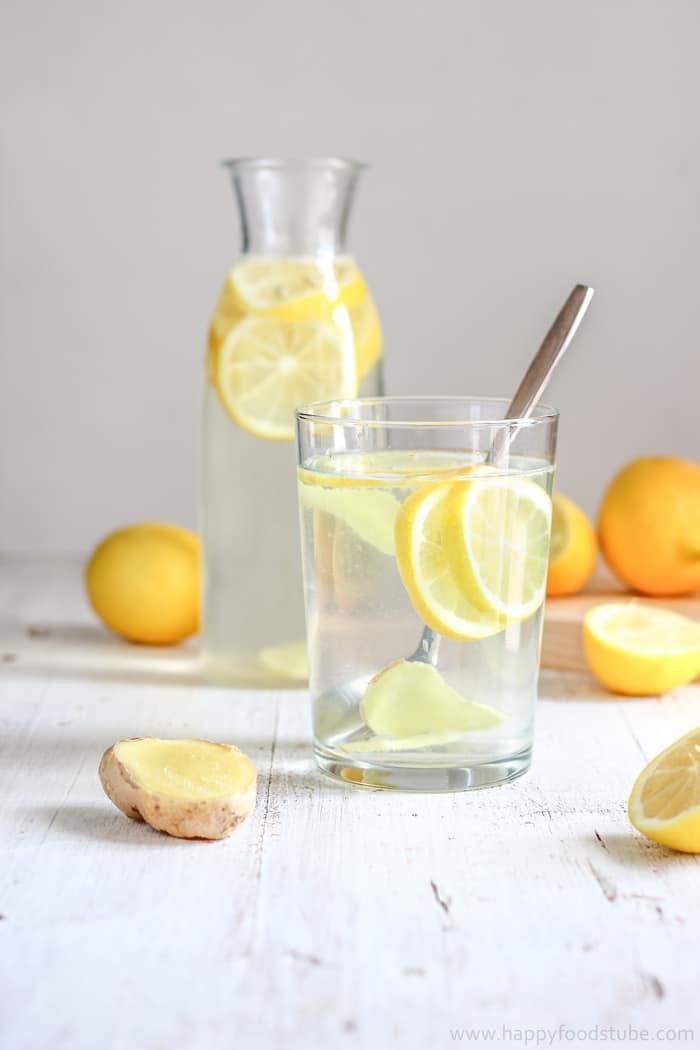 Infuse Water Lemon : infuse, water, lemon, Cleansing, Lemon, Ginger, Water, Recipe, Happy, Foods