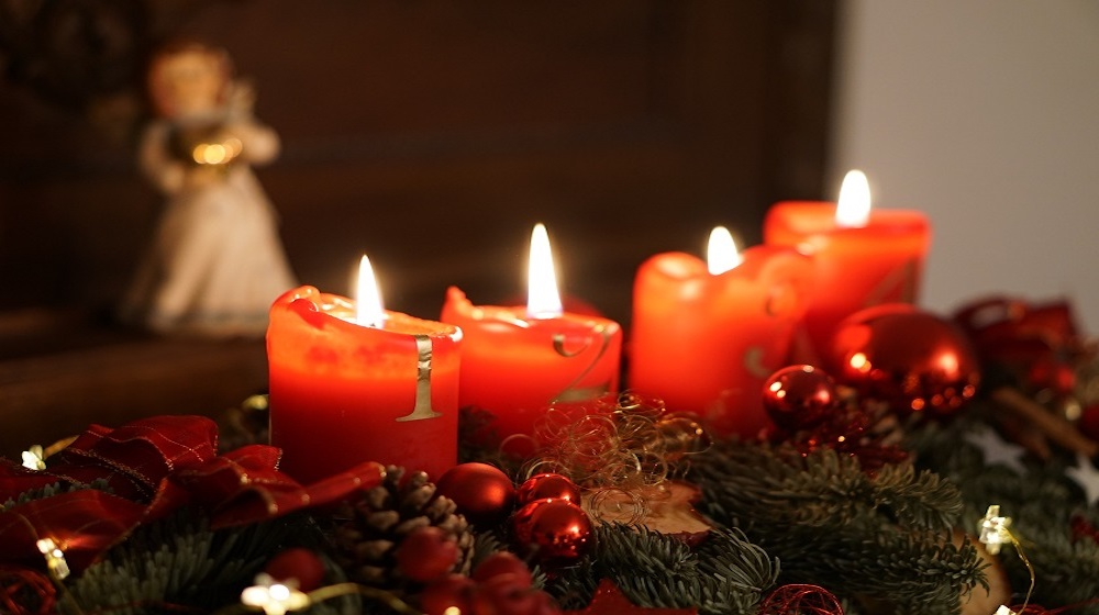 happy fox christmas is here red candels