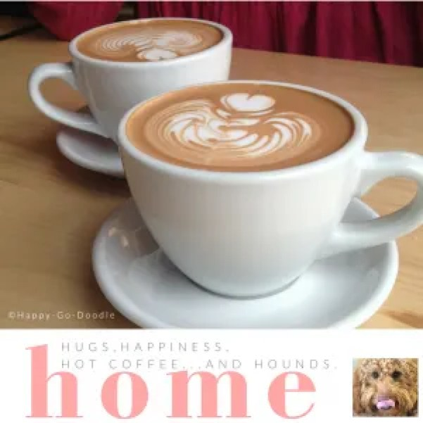 Two white cups of mocha lattes with hearts swirled in foam, word home in pink lettering, quote about dog love that says hugs happiness hot coffee and hounds, inset photo of goldendoodle licking nose