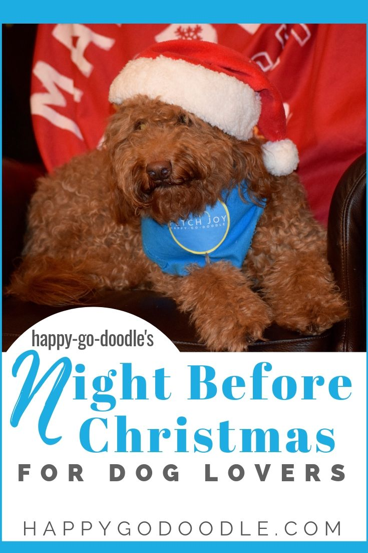 pinterest image for twas the night before christmas poem for dog lovers of goldendoodle in santa hat