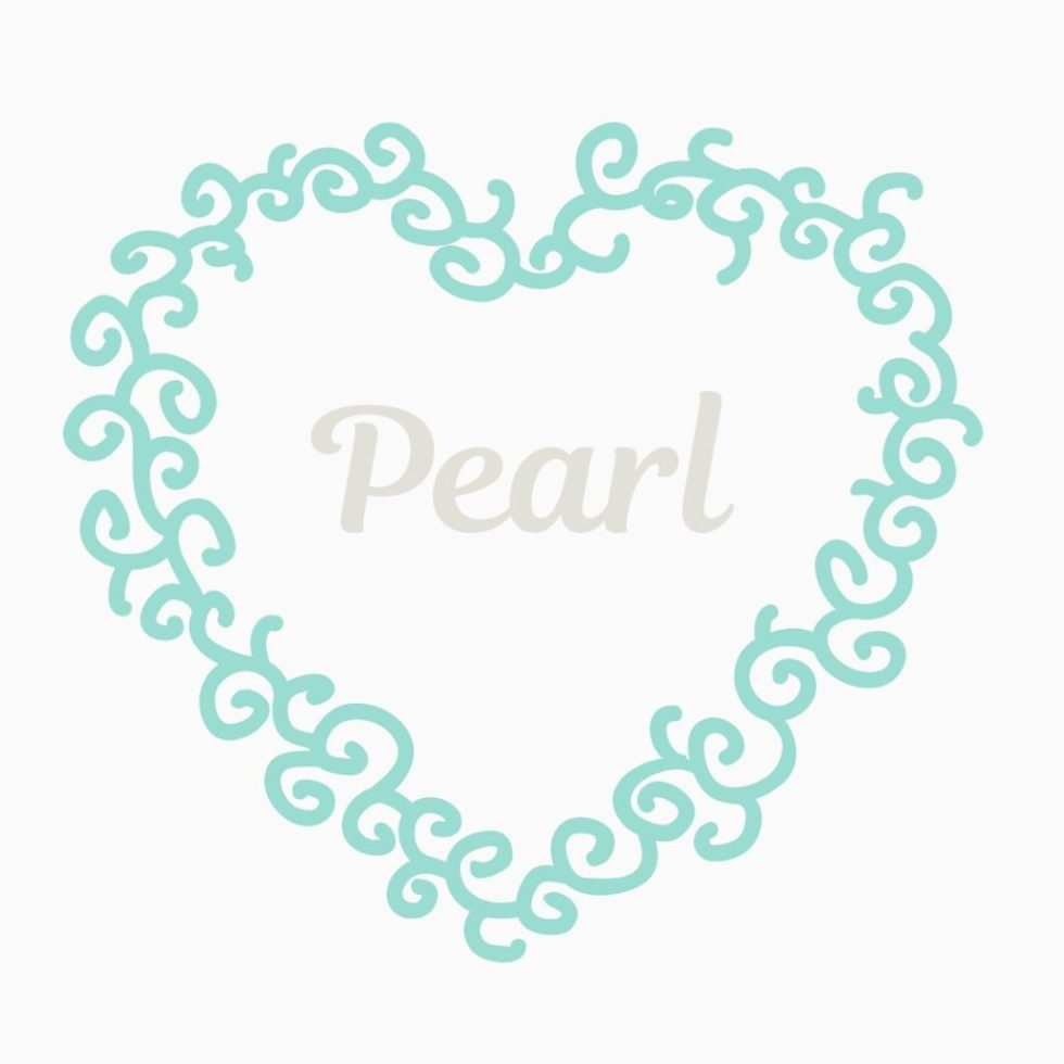 heart in vintage blue with name Pearl in center