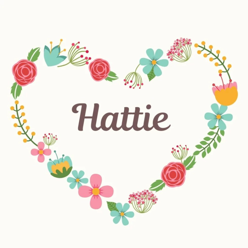 old fashioned name hattie with retro heart floral border