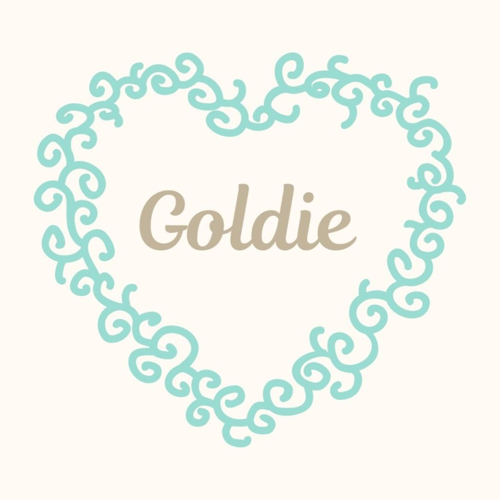 old fashioned name goldie with vintage heart border
